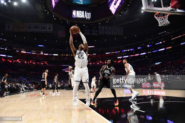 Donovan Mitchell of the Utah Jazz rebounds the ball during the game against the LA Clippers during Round 2, Game 6 of the 2021 NBA Playoffs on June...
