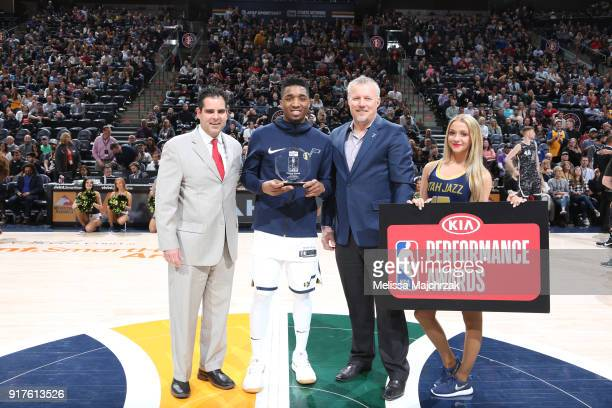 Donovan Mitchell of the Utah Jazz receives the Kia Rookie of the Month Award before the game against the San Antonio Spurs on February 12 2018 at...