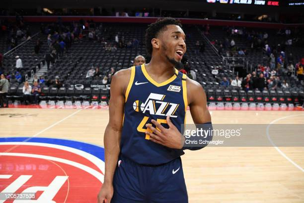 Donovan Mitchell of the Utah Jazz seen following the game against the Detroit Pistons on March 7 2020 at Little Caesars Arena in Detroit Michigan...