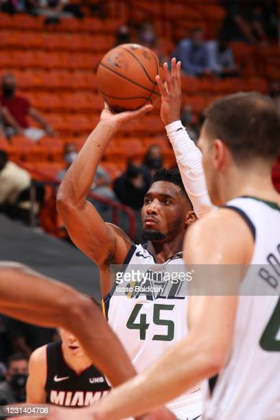 Donovan Mitchell of the Utah Jazz shoots a free throw during the game against the Miami Heat on February 26, 2021 at American Airlines Arena in...