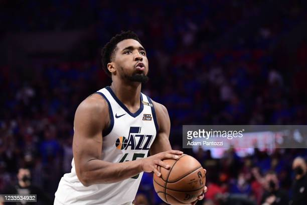 Donovan Mitchell of the Utah Jazz shoots a free throw during the game against the LA Clippers during Round 2, Game 6 of the 2021 NBA Playoffs on June...