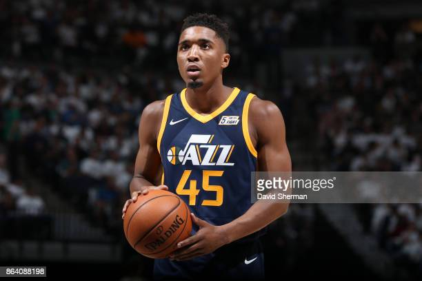 Donovan Mitchell of the Utah Jazz shoots a free throw during the game against the Minnesota Timberwolves on October 20 2017 at Target Center in...