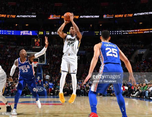 Donovan Mitchell of the Utah Jazz shoots the ball against the Philadelphia 76ers at Wells Fargo Center on November 20 2017 in Philadelphia...