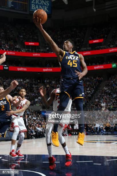 Donovan Mitchell of the Utah Jazz shoots the ball against the Chicago Bulls on November 22 2017 at Vivint Smart Home Arena in Salt Lake City Utah...