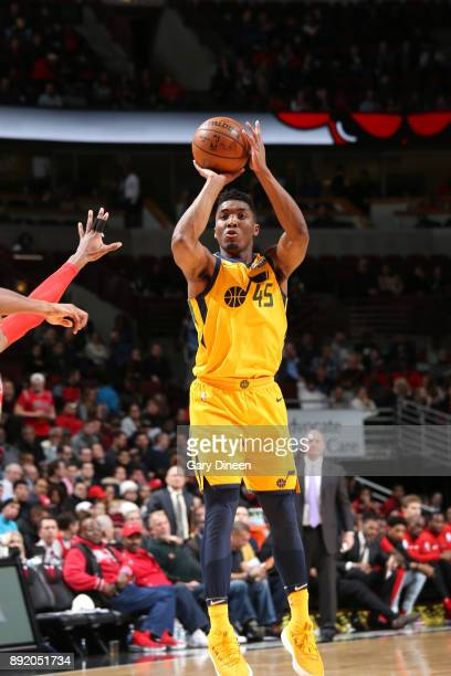Donovan Mitchell of the Utah Jazz shoots the ball against the Chicago Bulls on December 13 2017 at the United Center in Chicago Illinois NOTE TO USER...
