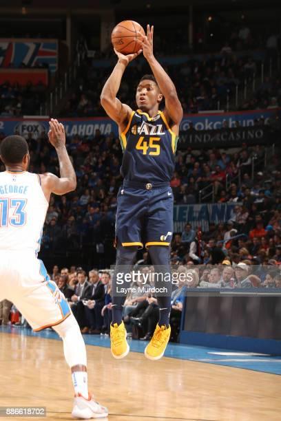 Donovan Mitchell of the Utah Jazz shoots the ball against the Oklahoma City Thunder on December 5 2017 at Chesapeake Energy Arena in Oklahoma City...