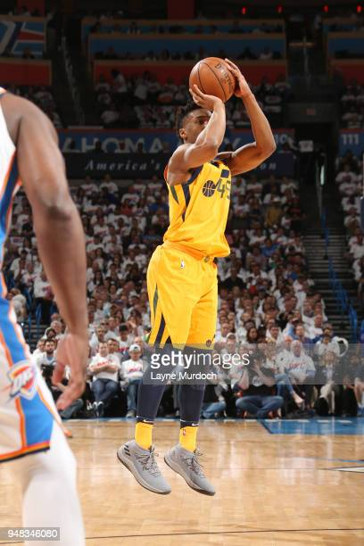 CITY OK APRIL 18 Donovan Mitchell of the Utah Jazz shoots the ball against the Oklahoma City Thunder in Game Two of Round One of the 2018 NBA...