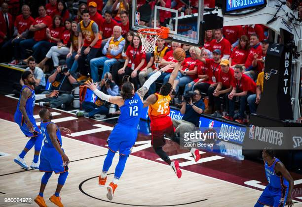 Donovan Mitchell of the Utah Jazz shoots the ball against the Oklahoma City Thunder in Game Three of Round One of the 2018 NBA Playoffs on April 21...