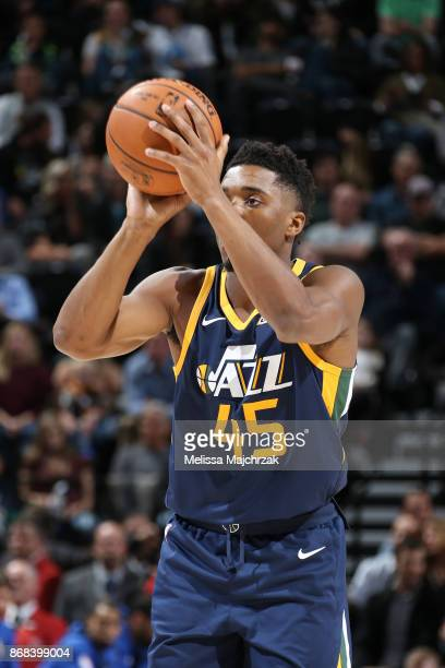 Donovan Mitchell of the Utah Jazz shoots the ball against the Dallas Mavericks on October 30 2017 at Vivint Smart Home Arena in Salt Lake City Utah...