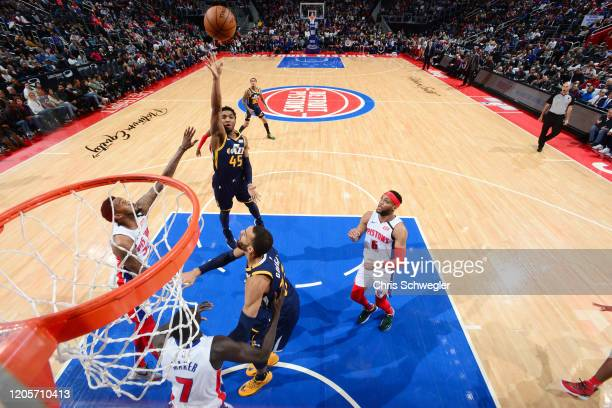 Donovan Mitchell of the Utah Jazz shoots the ball against the Detroit Pistons on March 7 2020 at Little Caesars Arena in Detroit Michigan NOTE TO...