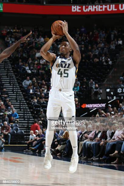 Donovan Mitchell of the Utah Jazz shoots the ball against the New Orleans Pelicans on December 1 2017 at vivintSmartHome Arena in Salt Lake City Utah...
