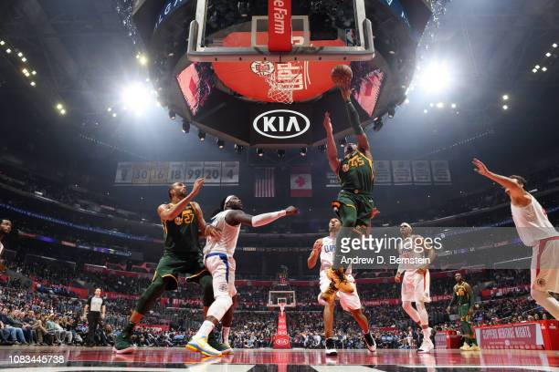 Donovan Mitchell of the Utah Jazz shoots the ball against the LA Clippers on January 16 2019 at STAPLES Center in Los Angeles California NOTE TO USER...
