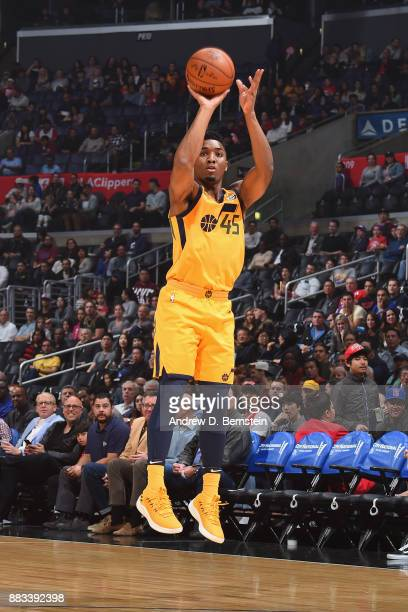 Donovan Mitchell of the Utah Jazz shoots the ball against the LA Clippers on November 30 2017 at STAPLES Center in Los Angeles California NOTE TO...
