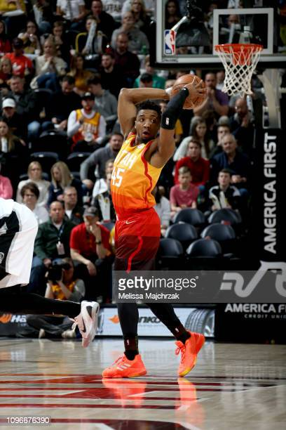 Donovan Mitchell of the Utah Jazz shoots the ball against the San Antonio Spurs on February 9 2019 at Vivint Smart Home Arena in Salt Lake City Utah...