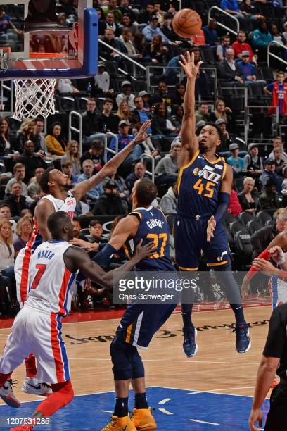 Donovan Mitchell of the Utah Jazz shoots the ball during the game against the Detroit Pistons on March 7 2020 at Little Caesars Arena in Detroit...
