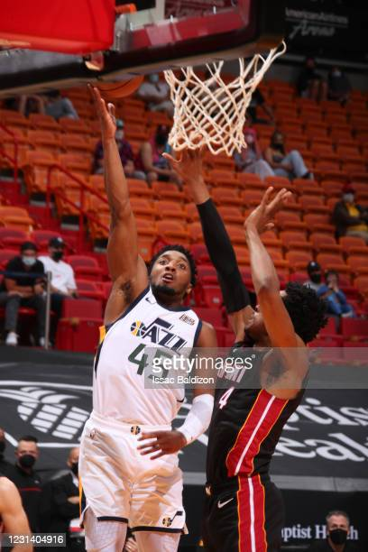 Donovan Mitchell of the Utah Jazz shoots the ball during the game against the Miami Heat on February 26, 2021 at American Airlines Arena in Miami,...