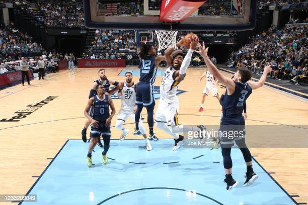 Donovan Mitchell of the Utah Jazz shoots the ball during the game against the Memphis Grizzlies during Round 1, Game 4 of the 2021 NBA Playoffs on...