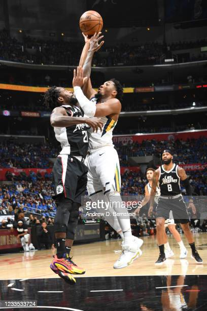 Donovan Mitchell of the Utah Jazz shoots the ball during the game against the LA Clippers during Round 2, Game 6 of the 2021 NBA Playoffs on June 18,...