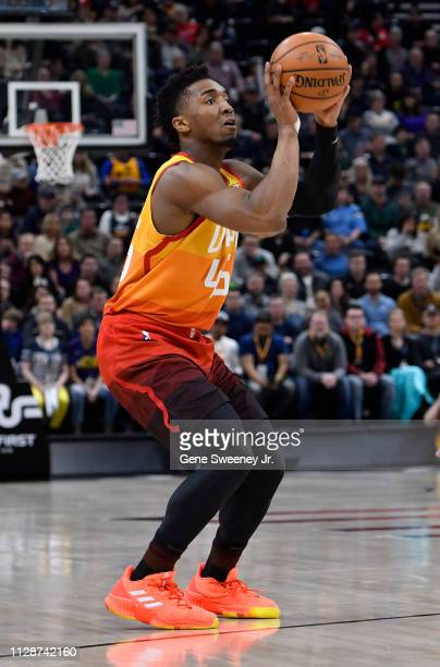 Donovan Mitchell of the Utah Jazz shoots the ball in a NBA game against the San Antonio Spurs at Vivint Smart Home Arena on February 09 2019 in Salt...