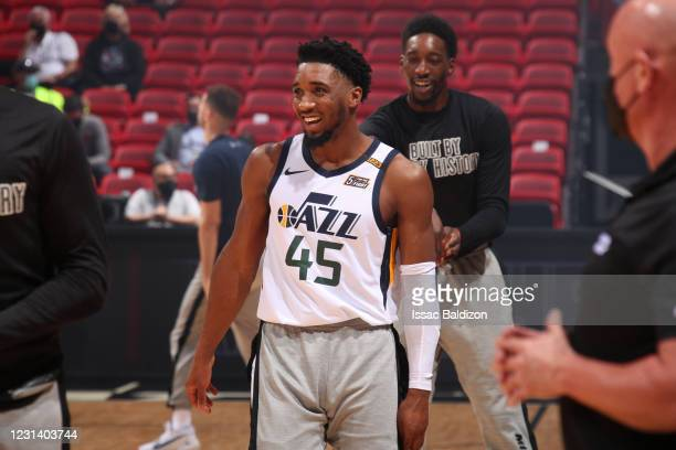 Donovan Mitchell of the Utah Jazz smiles before the game against the Miami Heat on February 26, 2021 at American Airlines Arena in Miami, Florida....