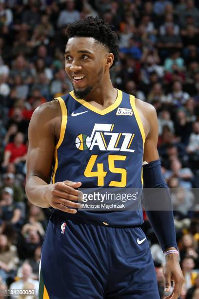 Donovan Mitchell of the Utah Jazz smiles during the game against the New Orleans Pelicans on November 23, 2019 at Vivint Smart Home Arena in Salt...