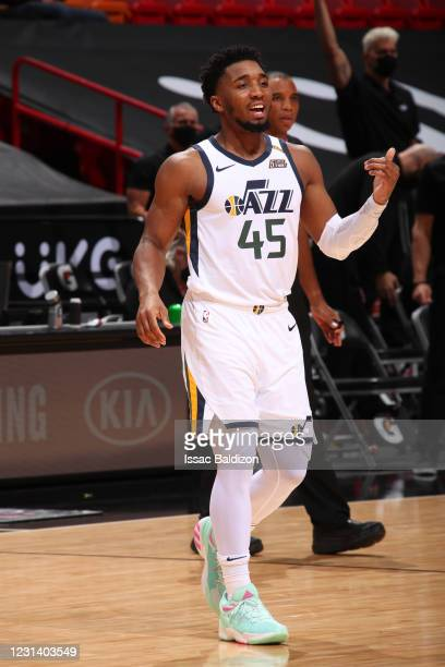 Donovan Mitchell of the Utah Jazz smiles during the game against the Miami Heat on February 26, 2021 at American Airlines Arena in Miami, Florida....