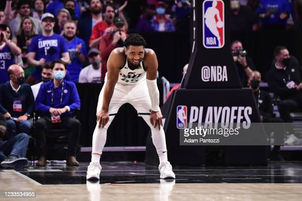 Donovan Mitchell of the Utah Jazz smiles during the game against the LA Clippers during Round 2, Game 6 of the 2021 NBA Playoffs on June 18, 2021 at...