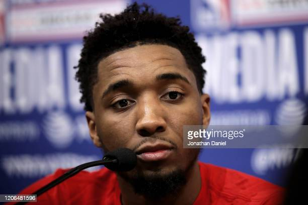 Donovan Mitchell of the Utah Jazz speaks to the media during 2020 NBA All-Star - Practice & Media Day at Wintrust Arena on February 15, 2020 in...