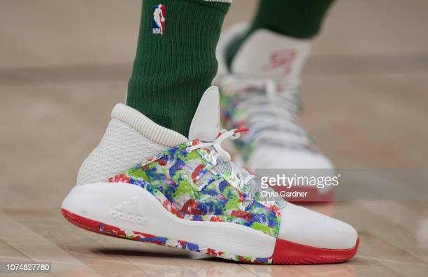 Donovan Mitchell of the Utah Jazz sports his Adidas warm up shoe during the pregame shoot around before their game against the Portland Trail Blazers...