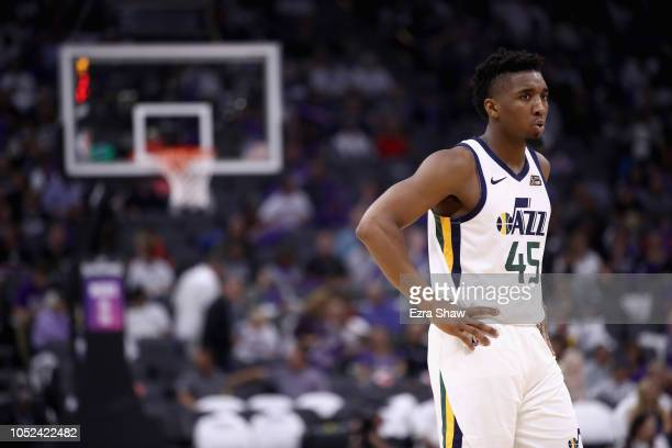 Donovan Mitchell of the Utah Jazz stands on the court during their game against the Sacramento Kings at Golden 1 Center on October 17 2018 in...