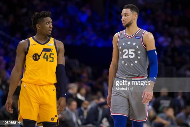 2528aade28c Donovan Mitchell of the Utah Jazz talks to Ben Simmons of the Philadelphia  76ers in the