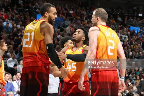 Donovan Mitchell of the Utah Jazz talks to his teammates during the game against the Toronto Raptors on March 9 2020 at vivintSmartHome Arena in Salt...