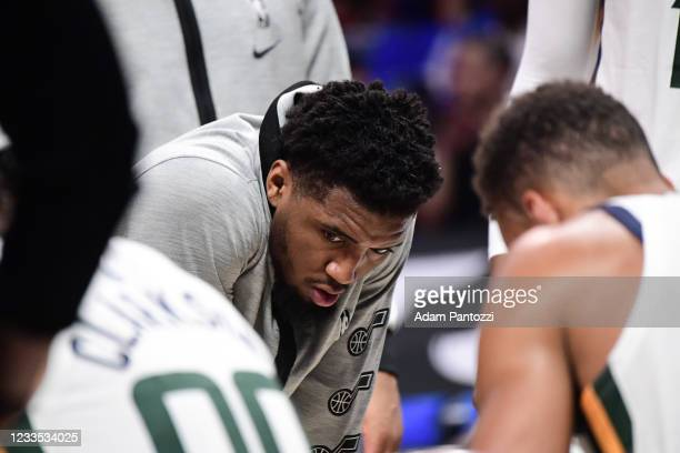 Donovan Mitchell of the Utah Jazz talks to Rudy Gobert of the Utah Jazz during the game against the LA Clippers during Round 2, Game 6 of the 2021...