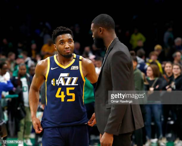 Donovan Mitchell of the Utah Jazz talks with Jaylen Brown of the Boston Celtics after the game at TD Garden on March 06 2020 in Boston Massachusetts...