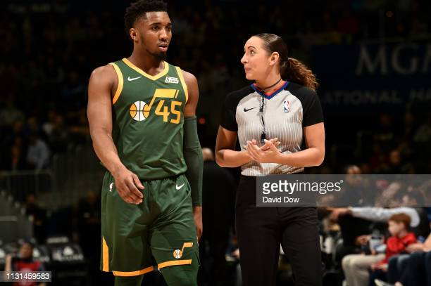 Donovan Mitchell of the Utah Jazz talks with Referee Ashley MoyerGleich during the game against the Washington Wizards on March 18 2019 at the...