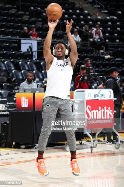 Donovan Mitchell of the Utah Jazz warms up before the game against the Toronto Raptors on March 9 2020 at vivintSmartHome Arena in Salt Lake City...