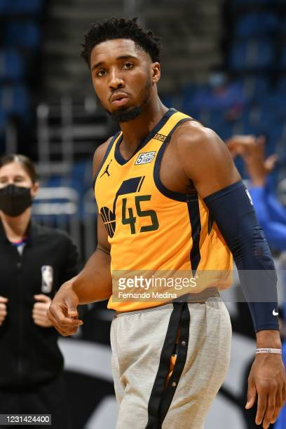 Donovan Mitchell of the Utah Jazz warms up before the game against the Orlando Magic on February 27, 2021 at Amway Center in Orlando, Florida. NOTE...