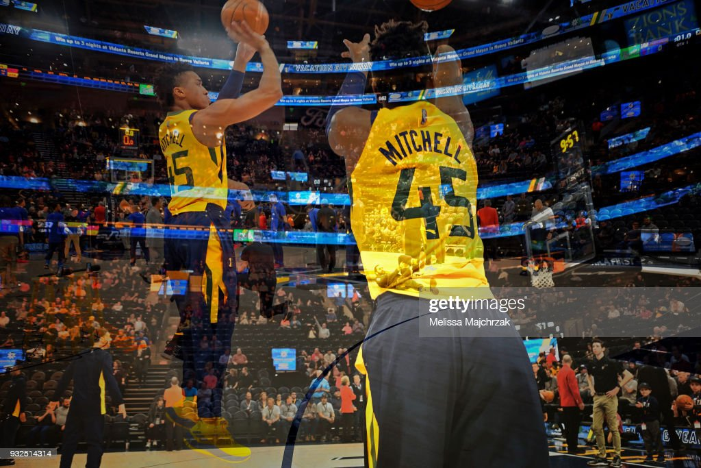 Donovan Mitchell #45 of the Utah Jazz warms up before the game against the Detroit Pistons on March 13, 2018 at vivint.SmartHome Arena in Salt Lake City, Utah.