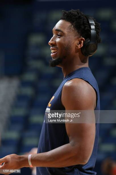 Donovan Mitchell of the Utah Jazz warms up prior to the game against the New Orleans Pelicans on March 1, 2021 at the Smoothie King Center in New...