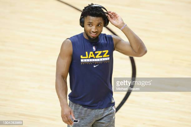 Donovan Mitchell of the Utah Jazz warms up prior to the game against the Miami Heat at American Airlines Arena on February 26, 2021 in Miami,...
