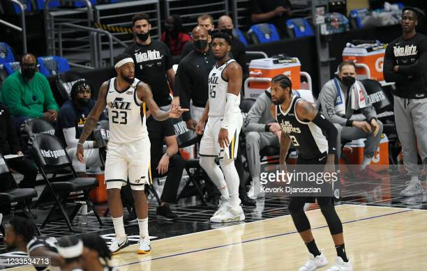 Donovan Mitchell of the Utah Jazz watches from the bench as the Los Angeles Clippers mount a comeback during the second half in Game Six of the...