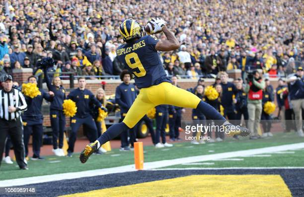 Donovan PeoplesJones of the Michigan Wolverines catches a second quarter touchdown pass during the game against the Penn State Nittany Lions at...