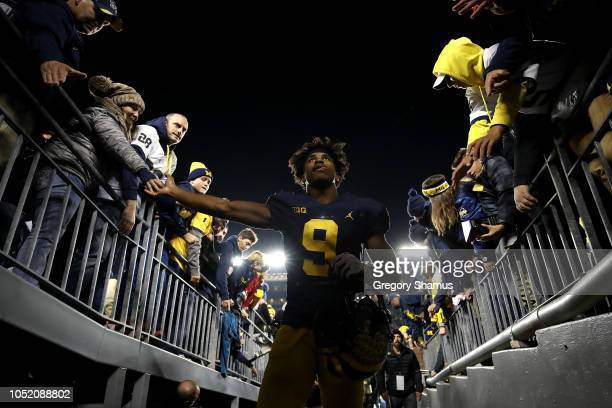 Donovan PeoplesJones of the Michigan Wolverines leaves the field celebrating a 3813 victory over the Wisconsin Badgers on October 13 2018 at Michigan...