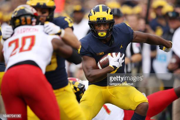 Donovan Peoples-Jones of the Michigan Wolverines runs for a touchdown after a second half catch while playing the Maryland Terrapins on October 6,...