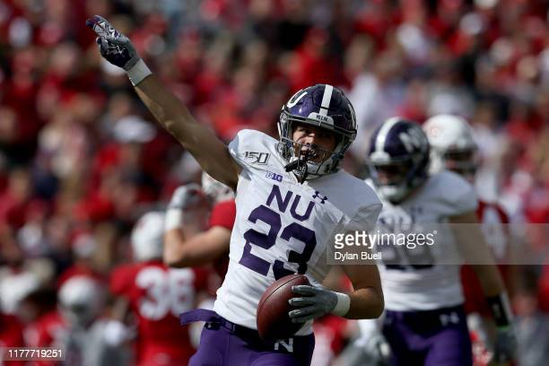Donovan Sermons of the Northwestern Wildcats celebrates after recovering a fumble in the fourth quarter against the Wisconsin Badgers at Camp Randall...