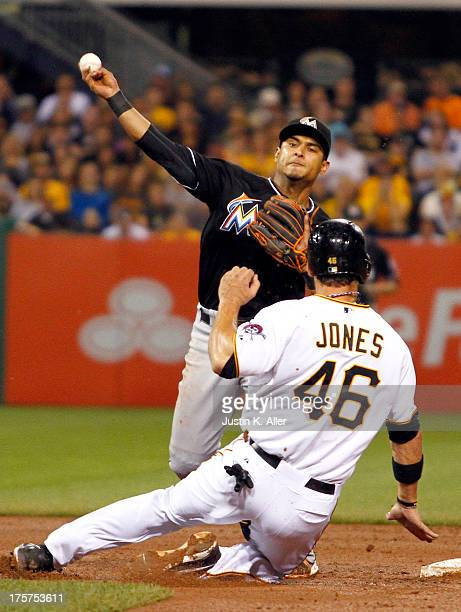 Donovan Solano of the Miami Marlins attempts a double play in the fifth inning against Garrett Jones of the Pittsburgh Pirates during the game on...