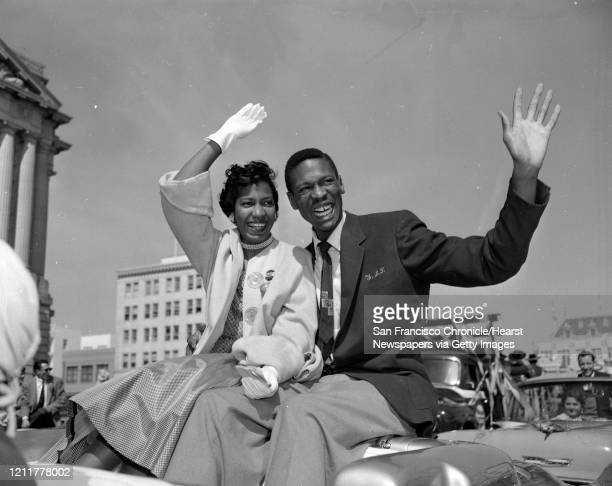 USF Dons are cheered at a parade in San Francisco March 25 after winning NCAA championship in basketball title Bill Russell and Rose Swisher