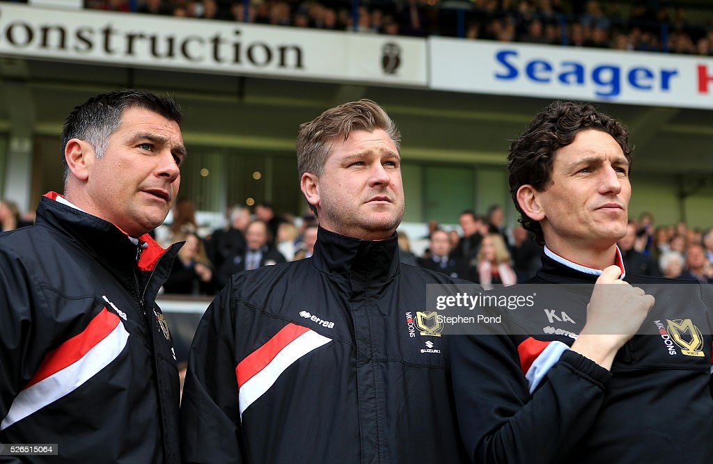 MK Dons Manager Karl Robinson during the Sky Bet Championship match between Ipswich Town and Milton Keynes Dons at Portman Road on April 30, 2016 in Ipswich, England.