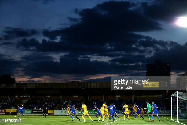 Dons press forward during the Carabao Cup First Round match between AFC Wimbledon and Milton Keynes at The Cherry Red Records Stadium on August 13,...