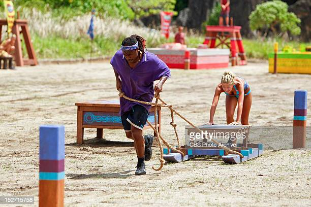 'Don't Be Blinded By The Headlights' Russell Swan and Angie Layton of the Matsing Tribe during the Immunity Challenge on the second episode of...